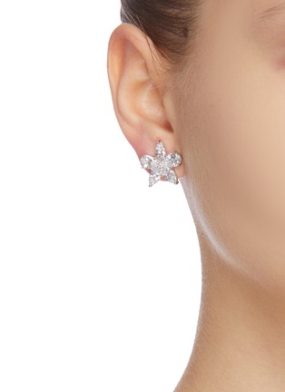 Figure View - Click To Enlarge - CZ BY KENNETH JAY LANE - cubic zirconia pearl floral motif stud earrings