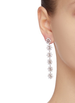 Figure View - Click To Enlarge - CZ BY KENNETH JAY LANE - cubic zirconia floral motif drop earrings