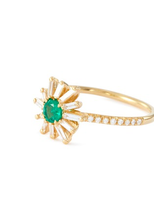 Figure View - Click To Enlarge - SUZANNE KALAN - 'Fireworks' diamond emerald 18k yellow gold flower ring