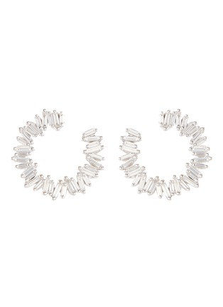 Main View - Click To Enlarge - SUZANNE KALAN - Diamond 18k white gold hoop earrings