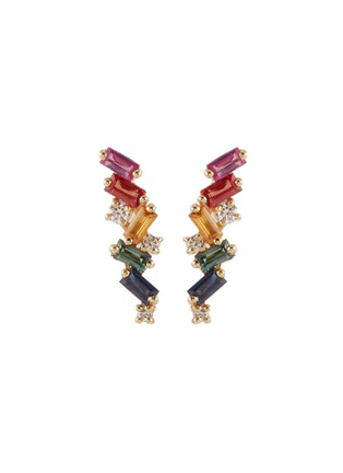 Main View - Click To Enlarge - SUZANNE KALAN - 'Rainbow Fireworks' diamond sapphire 18k yellow gold earrings