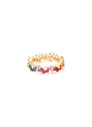 Main View - Click To Enlarge - SUZANNE KALAN - 'Rainbow Frenzy' diamond sapphire 18k yellow gold eternity ring