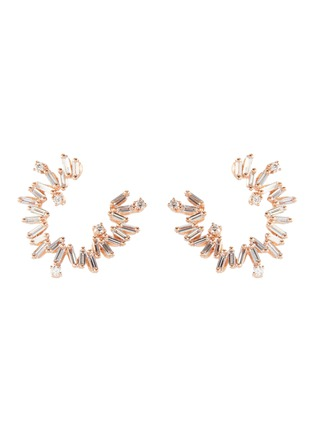 Main View - Click To Enlarge - SUZANNE KALAN - 'Fireworks' diamond 18k rose gold hoop earrings