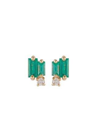 Main View - Click To Enlarge - SUZANNE KALAN - Diamond emerald 18k yellow gold stud earrings