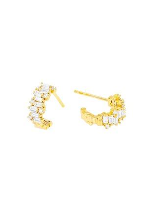Main View - Click To Enlarge - SUZANNE KALAN - 'Fireworks' diamond 18k yellow gold mini hoop earrings