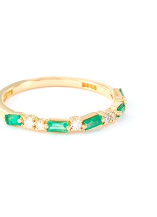 Figure View - Click To Enlarge - SUZANNE KALAN - 'Fireworks' diamond emerald 18k yellow gold half eternity ring