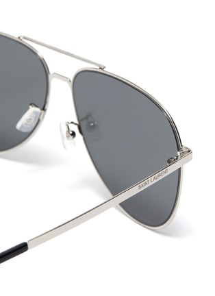 Detail View - Click To Enlarge - SAINT LAURENT - 'Classic 11 Slim' double bridge metal frame aviator sunglasses