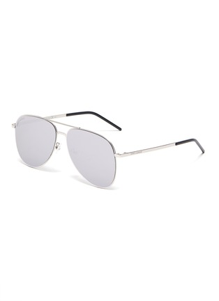 Main View - Click To Enlarge - SAINT LAURENT - 'Classic 11 Slim' double bridge metal frame aviator sunglasses