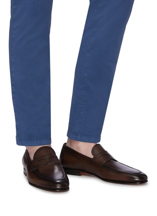 Figure View - Click To Enlarge - SANTONI - 'Carlos' flexi leather penny loafers