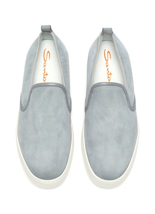 Detail View - Click To Enlarge - SANTONI - 'Cleanic' stretch suede slip ons