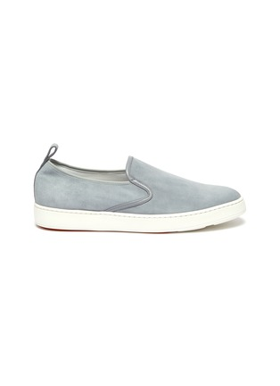Main View - Click To Enlarge - SANTONI - 'Cleanic' stretch suede slip ons