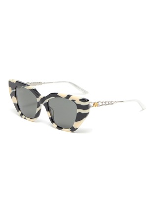 Main View - Click To Enlarge - GUCCI - Zebra pattern acetate frame cateye sunglasses