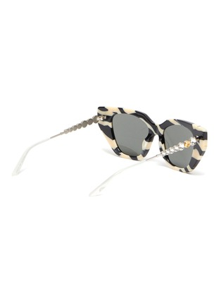 Figure View - Click To Enlarge - GUCCI - Zebra pattern acetate frame cateye sunglasses