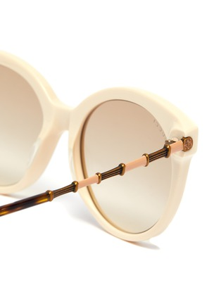 Detail View - Click To Enlarge - GUCCI - Horn rim acetate frame round sunglasses