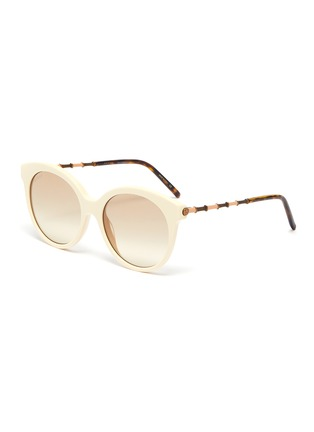 Main View - Click To Enlarge - GUCCI - Horn rim acetate frame round sunglasses