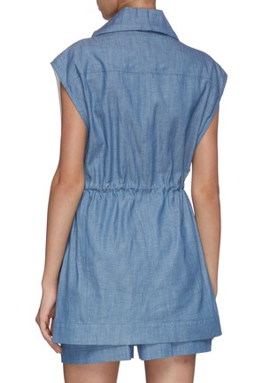 Back View - Click To Enlarge - 3.1 PHILLIP LIM - Chambray utility drawstring sports vest