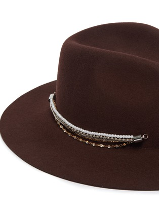 Detail View - Click To Enlarge - EUGENIA KIM - 'Georgina' crystal pearl embellished chain fedora hat