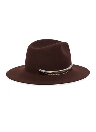 Figure View - Click To Enlarge - EUGENIA KIM - 'Georgina' crystal pearl embellished chain fedora hat
