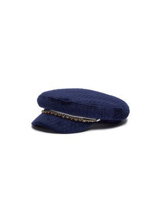 Main View - Click To Enlarge - EUGENIA KIM - 'Marina' pearl crystal embellished chain velvet quilted newsboy cap