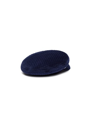 Figure View - Click To Enlarge - EUGENIA KIM - 'Marina' pearl crystal embellished chain velvet quilted newsboy cap