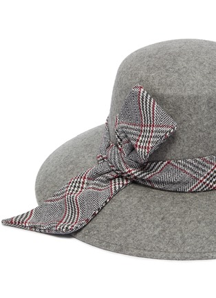 Detail View - Click To Enlarge - EUGENIA KIM - 'Stevie' check plaid band wide brim fedora hat