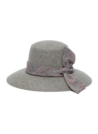 Figure View - Click To Enlarge - EUGENIA KIM - 'Stevie' check plaid band wide brim fedora hat
