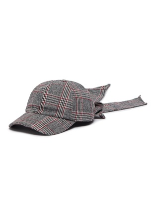 Main View - Click To Enlarge - EUGENIA KIM - 'Lauren' check plaid bow embellished baseball cap