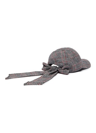 Figure View - Click To Enlarge - EUGENIA KIM - 'Lauren' check plaid bow embellished baseball cap