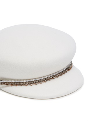 Detail View - Click To Enlarge - EUGENIA KIM - 'Sabrina' pearl crystal embellished chain newsboy cap