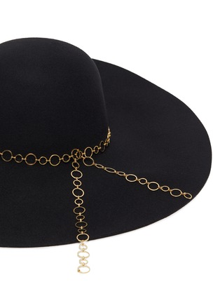 Detail View - Click To Enlarge - EUGENIA KIM - 'Bunny' chain embellished wide brim fedora hat