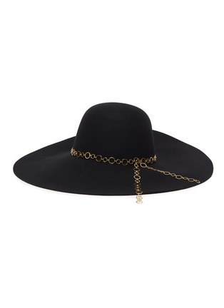 Main View - Click To Enlarge - EUGENIA KIM - 'Bunny' chain embellished wide brim fedora hat