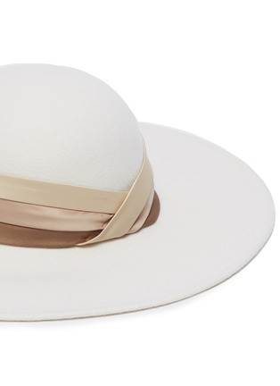 Detail View - Click To Enlarge - EUGENIA KIM - 'Honey' satin band wide brim hat