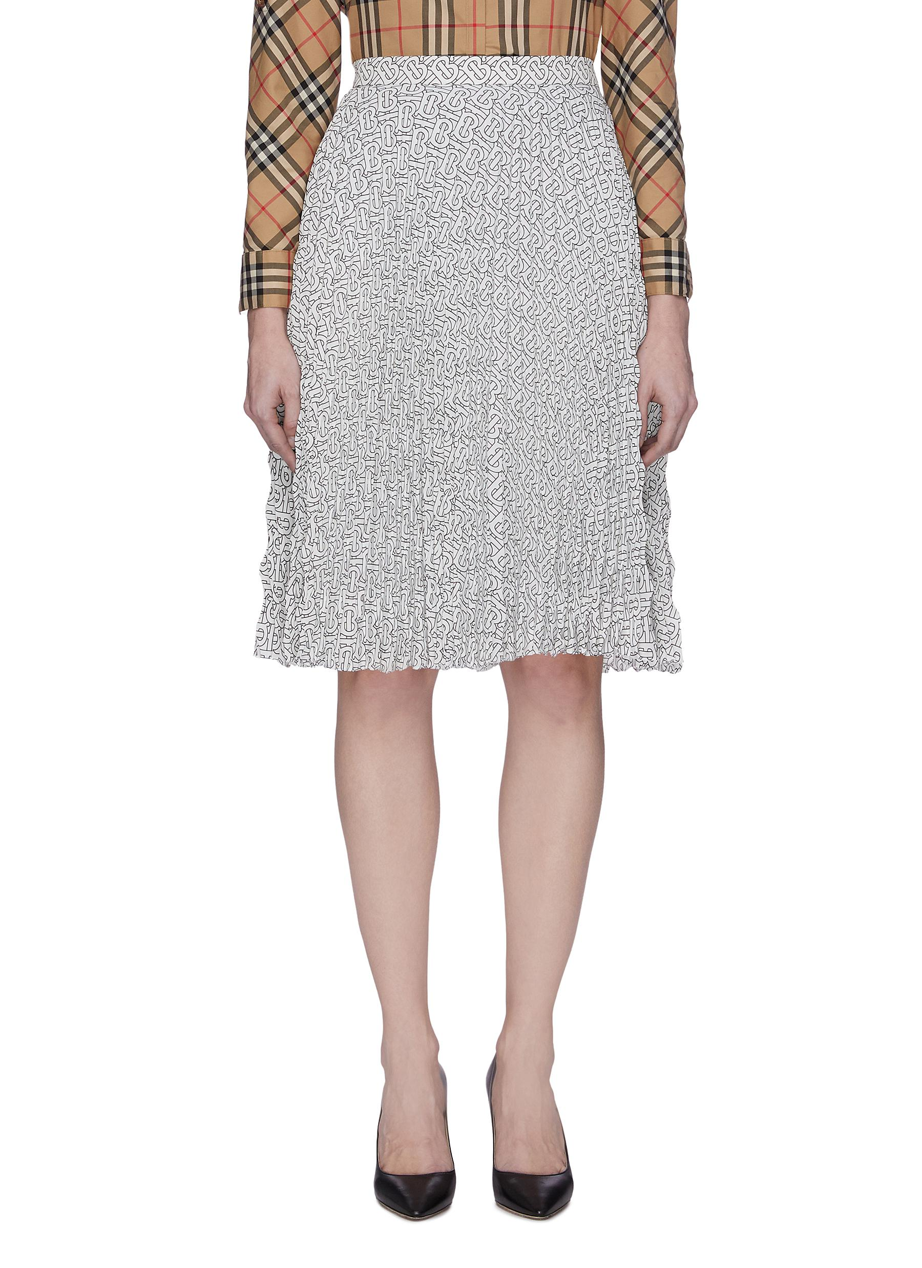 shop Burberry Monogram Print Pleat Skirt online