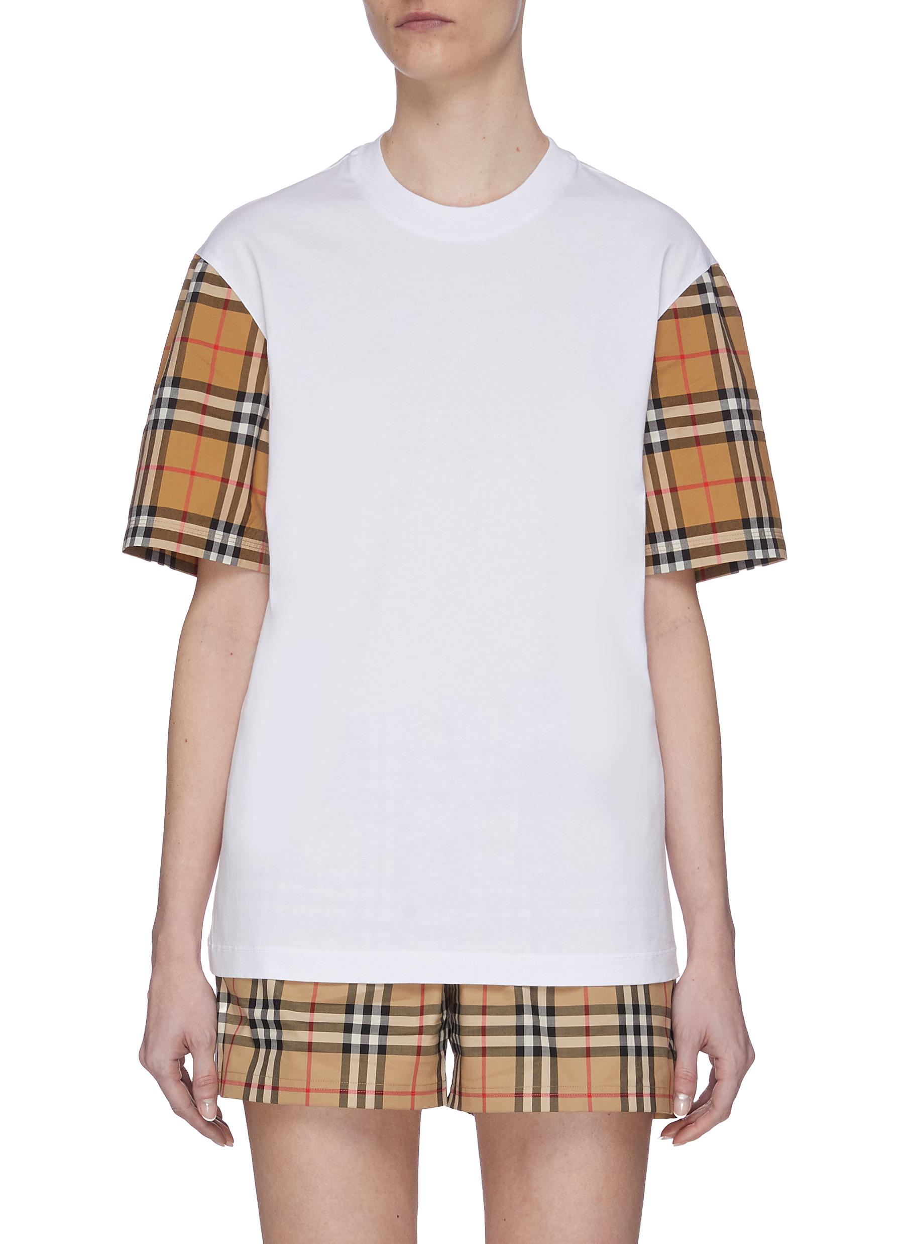shop Burberry Check Sleeve Detail T-shirt online