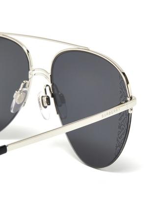 Detail View - Click To Enlarge - BURBERRY - Monogram metal frame aviator sunglasses