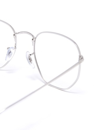 Detail View - Click To Enlarge - RAY-BAN - Angled metal frame aviator optical glasses