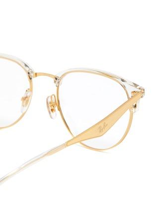 Detail View - Click To Enlarge - RAY-BAN - 'Clubmaster' metal half acetate frame transparent rim optical glasses