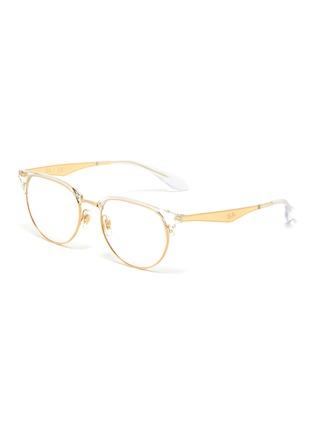 Main View - Click To Enlarge - RAY-BAN - 'Clubmaster' metal half acetate frame transparent rim optical glasses