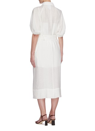 Back View - Click To Enlarge - C/MEO COLLECTIVE - 'Go On' contrast acetate buckle belt mid sleeve midi shirt dress