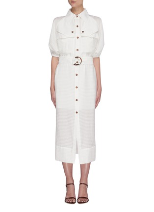 Main View - Click To Enlarge - C/MEO COLLECTIVE - 'Go On' contrast acetate buckle belt mid sleeve midi shirt dress