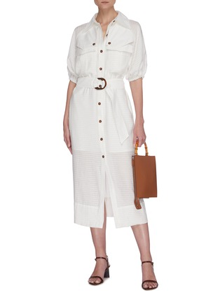 Figure View - Click To Enlarge - C/MEO COLLECTIVE - 'Go On' contrast acetate buckle belt mid sleeve midi shirt dress