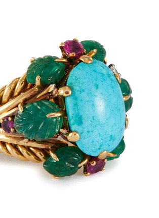 Detail View - Click To Enlarge - PALAIS ROYAL - Mauboussin turquoise 18k gold earrings, bracelet, ring and necklace parure