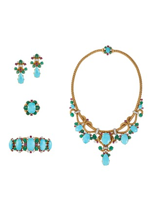 Main View - Click To Enlarge - PALAIS ROYAL - Mauboussin turquoise 18k gold earrings, bracelet, ring and necklace parure