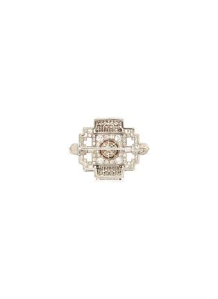 Back View - Click To Enlarge - PALAIS ROYAL - Diamond pearl platinum brooch