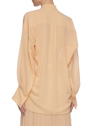 Back View - Click To Enlarge - CHLOÉ - Pleated neck-tie blouse