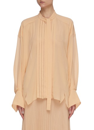 Main View - Click To Enlarge - CHLOÉ - Pleated neck-tie blouse