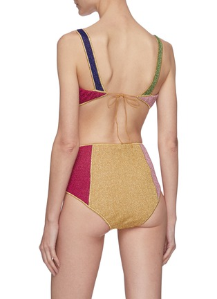 Back View - Click To Enlarge - OSEREE - Lumière Colore' colourblock high waist bikini set