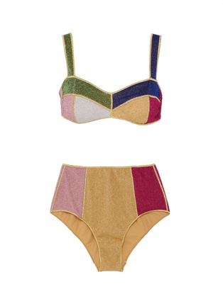 Main View - Click To Enlarge - OSEREE - Lumière Colore' colourblock high waist bikini set