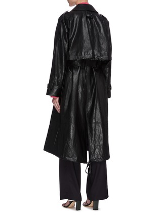 Back View - Click To Enlarge - LOW CLASSIC - Drawstring hem leather coat