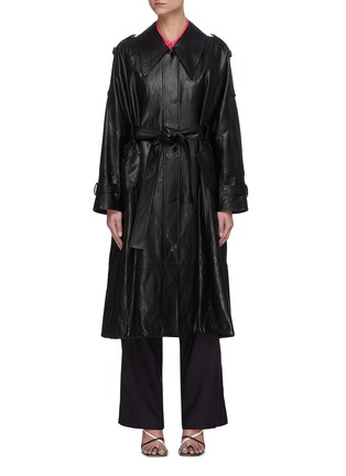 Main View - Click To Enlarge - LOW CLASSIC - Drawstring hem leather coat